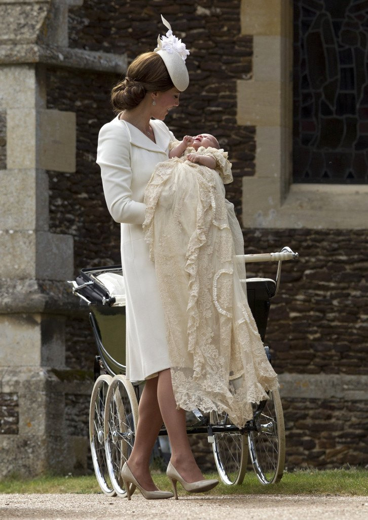 The Christening of Princess Charlotte at The Church of St Mary Magdalene, Sandringham, Norfolk, UK on the 5th July 2015. Picture by Matt Dunham/WPA-Pool Pictured: Duchess of Cambridge, Catherine, Kate Middleton, Princess Charlotte Ref: SPL1068799 050715 Picture by: Splash News Splash News and Pictures Los Angeles:310-821-2666 New York:212-619-2666 London: 870-934-2666 photodesk@splashnews.com