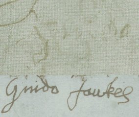 Fawkes two signatures - top is after his torture, showing how weak he was. Wikimedia Commons