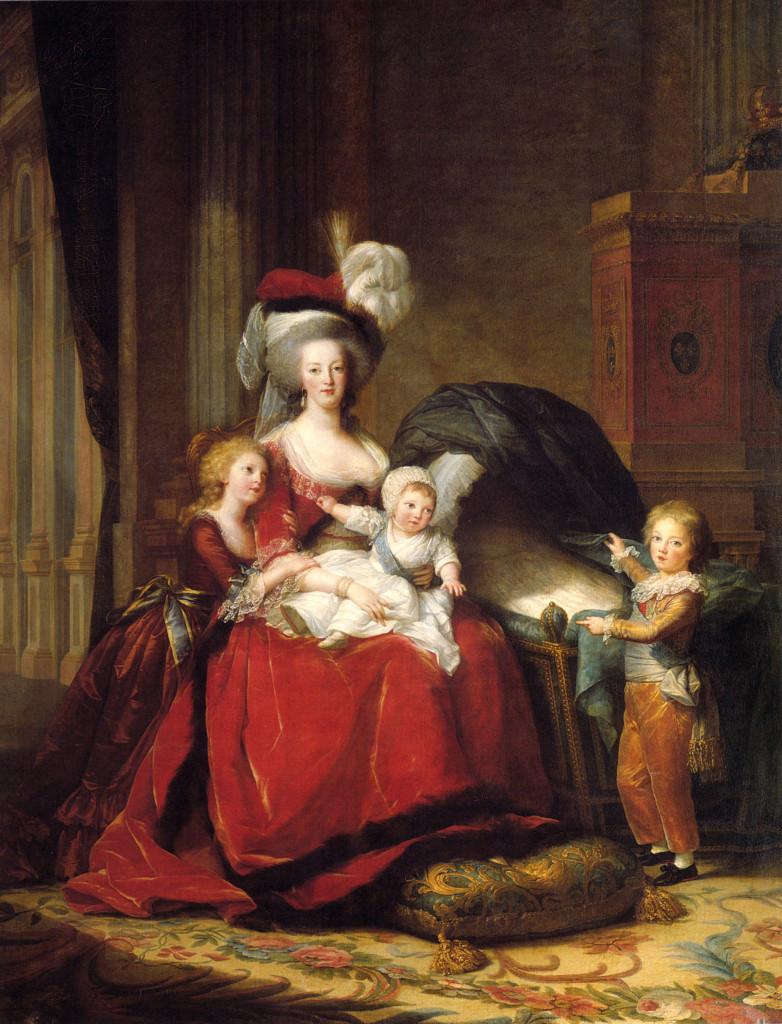 Marie Antoinette and her children, Marie Thérèse, Louis Charles (on her lap), and Louis Joseph. (Louise Élisabeth Vigée Le Brun - Public domain)