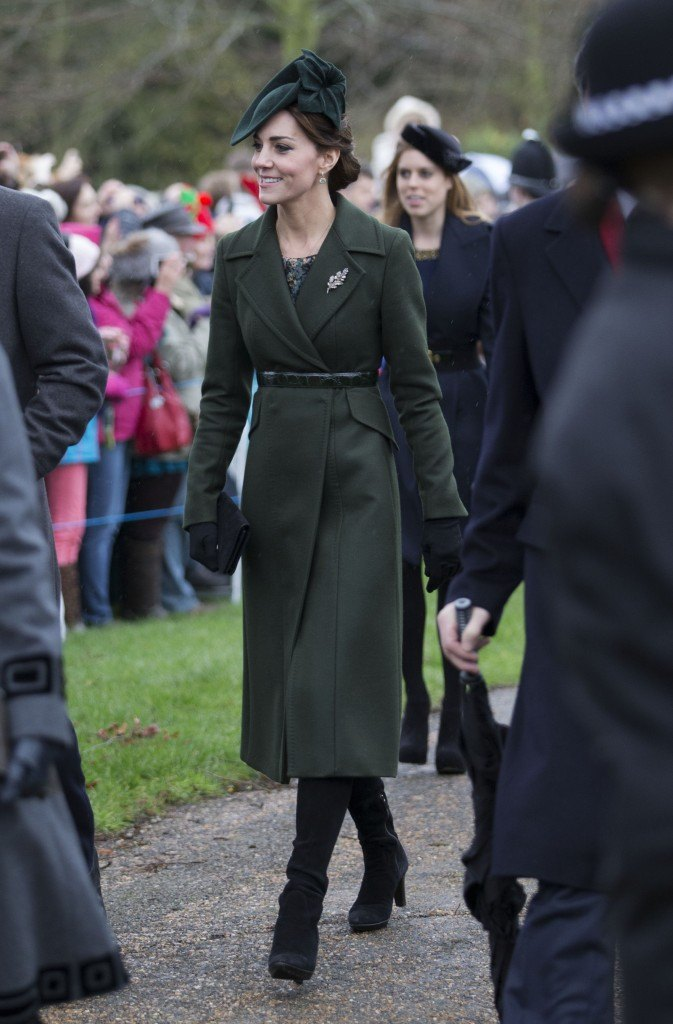 The Duchess of Cambridge arriving at the Christmas Day church service at Sandringham. Picture by Stephen Lock / i-Images