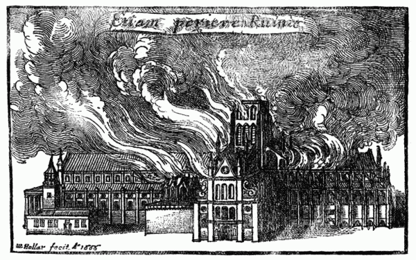 St Paul's Cathedral burns in 1666 (wikimedia commons)