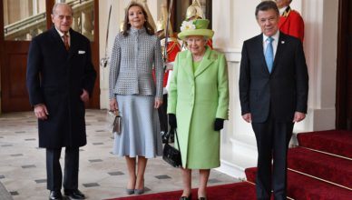 The President of Colombia,  Juan Manuel Santos Calder—n, and his wife are welcomed to Buckingham Palace by The Queen and Prince Philip on the first day of their State Visit. Picture by  i-Images / Pool