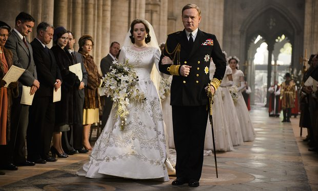 Princess Elizabeth and George VI at the Royal Wedding of 1947 to Philip Mountbatten (Netflix)