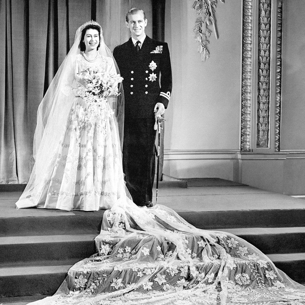 Princess Elizabeth and The Duke of Edinburgh on their wedding day, 1947; she wears Queen Mary's Fringe Tiara (RCT)