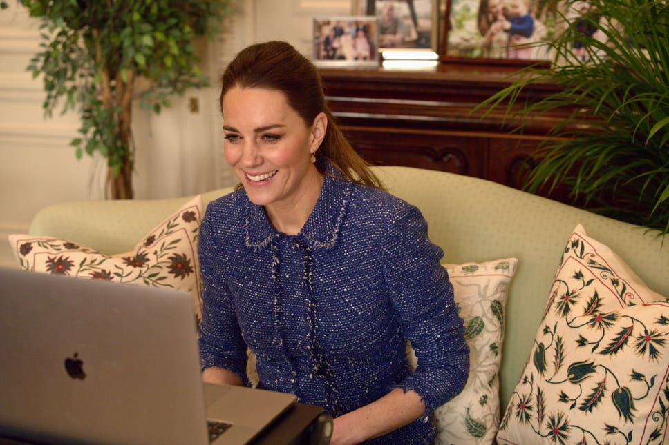 The Duchess of Cambridge on a zoom call to teachers in a blue tweed suit